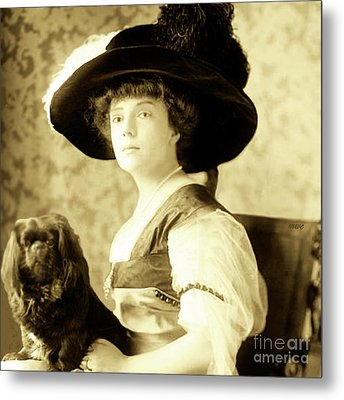 Vintage Lady With Lapdog Metal Print by Marian Cates