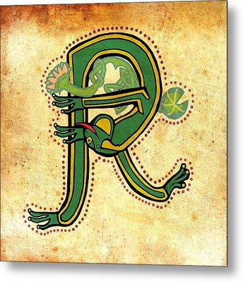 Vintage Letter R Frog Metal Print