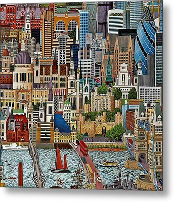 Metal Print featuring the drawing Vintage London by Digital Art Cafe