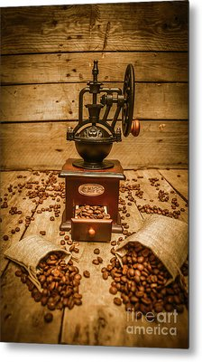 Vintage Manual Grinder And Coffee Beans Metal Print