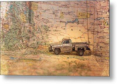 Metal Print featuring the photograph Vintage Map And Truck by Mary Hone