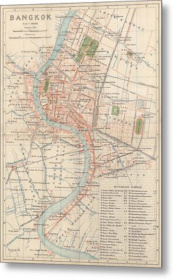Metal Print featuring the drawing Vintage Map Of Bangkok, Thailand From 1920 by Blue Monocle