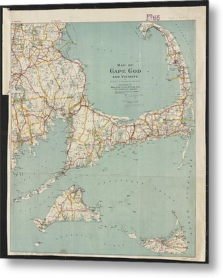 Vintage Map Of Cape Cod - 1917 Metal Print by CartographyAssociates