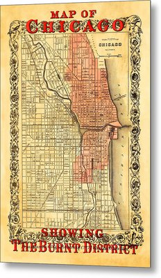 Vintage Map Of Chicago Fire Metal Print