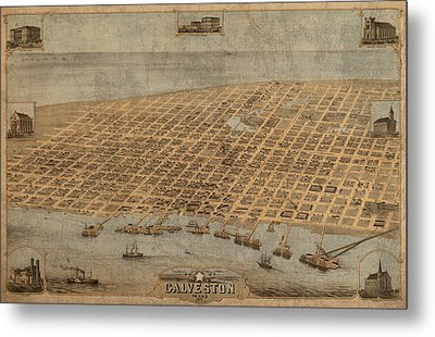 Vintage Map Of Galveston Texas 1871 Birds Eye Street View  Metal Print by Design Turnpike