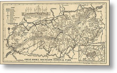 Vintage Map Of Great Smoky Mountains National Park From 1941 Metal Print