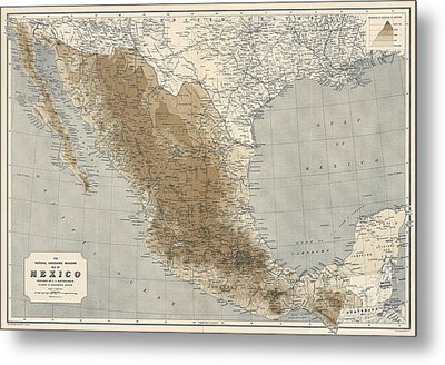 Metal Print featuring the drawing Vintage Map Of Mexico - 1911 - National Geographic by Blue Monocle