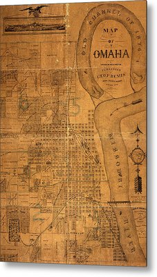 Vintage Map Of Omaha Nebraska 1878 Metal Print