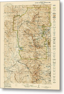 Vintage Map Of Rocky Mountain National Park - Colorado - 1919/1940 Metal Print by Blue Monocle