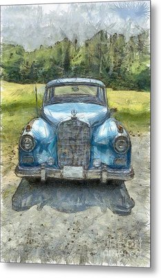 Vintage Mercedes-benz Pencil Metal Print by Edward Fielding