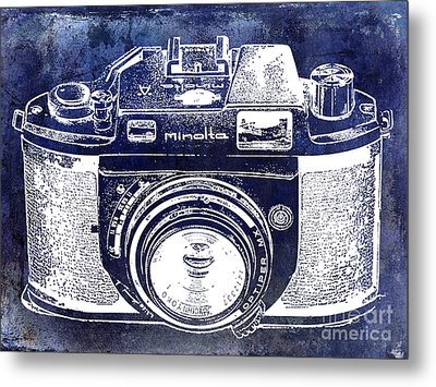 Vintage Minolta Camera Blue Metal Print by Jon Neidert