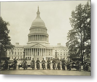 Vintage Motorcycle Police - Washington Dc  Metal Print by War Is Hell Store