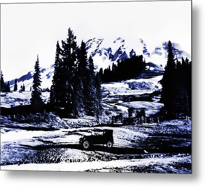 Vintage Mount Rainier With Antique Car Early 1900 Era... Metal Print by Eddie Eastwood