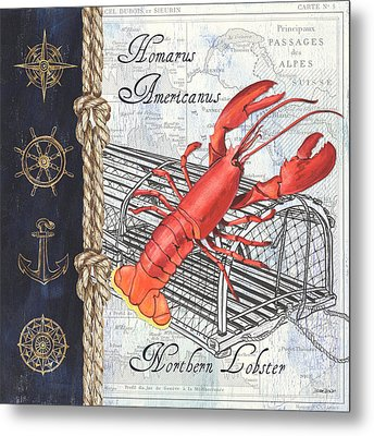 Vintage Nautical Lobster Metal Print by Debbie DeWitt