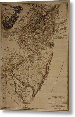 Vintage New Jersey Map Metal Print