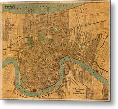 Vintage New Orleans Louisiana Street Map 1919 Retro Cartography Print On Worn Canvas Metal Print by Design Turnpike
