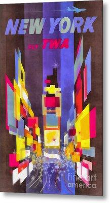 Vintage New York Fly Twa Times Square Metal Print by Edward Fielding