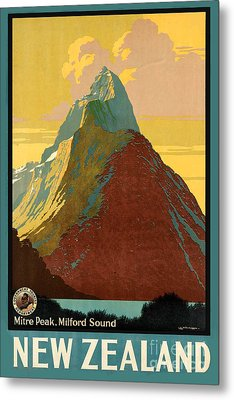 Vintage New Zealand Travel Poster Metal Print by George Pedro