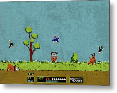 Vintage Nintendo Nes Duck Hunt Game Scene Metal Print