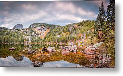 Vintage Panorama Of Bear Lake In The Fall - Rocky Mountain National Park Estes Park Colorado Metal Print by Silvio Ligutti