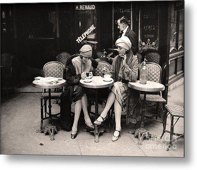 Vintage Paris Cafe Metal Print