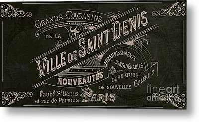 Vintage Paris Sign Metal Print