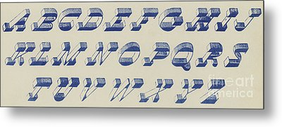 Vintage Perspective Italian Blue Font Metal Print by English School