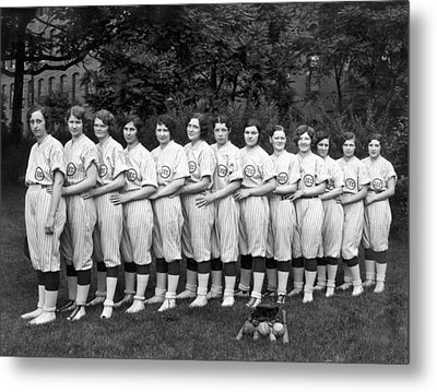 Vintage Photo Of Women's Baseball Team Metal Print