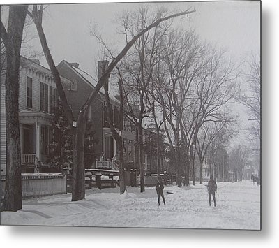 Vintage Photograph 1902 Snowball Fight New Bern Nc Metal Print by Virginia Coyle