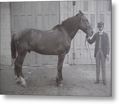 Vintage Photograph 1902 Horse With Handler New Bern Nc Area Metal Print by Virginia Coyle