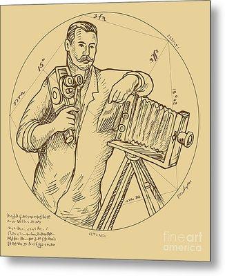 Vintage Photographer Video Camera Metal Print by Aloysius Patrimonio