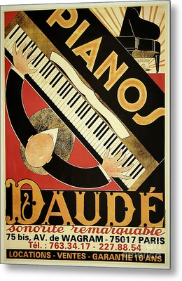Vintage Piano Art Deco Metal Print