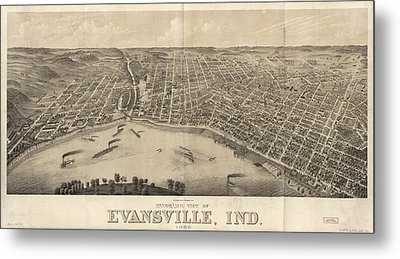 Vintage Pictorial Map Of Evansville Indiana - 1880 Metal Print by CartographyAssociates