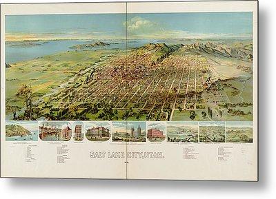 Vintage Pictorial Map Of Salt Lake City - 1891 Metal Print