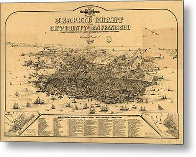 Vintage Pictorial Map Of San Francisco - 1875 Metal Print by CartographyAssociates
