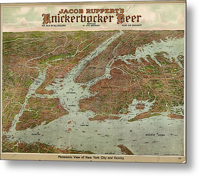 Vintage Pictorial Map Of The Nyc Area - 1912 Metal Print
