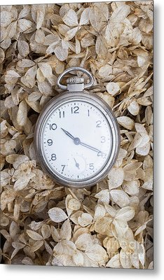 Metal Print featuring the photograph Vintage Pocket Watch Over Dried Flowers by Edward Fielding