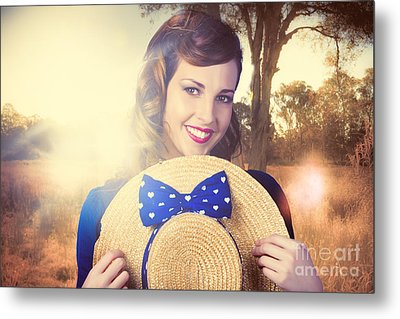Vintage Portrait Of A Country Pinup Girl Metal Print by Jorgo Photography - Wall Art Gallery