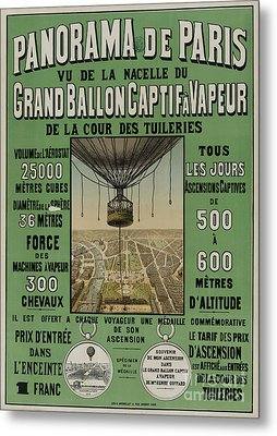 Metal Print featuring the photograph Vintage Poster Of Great Balloon View Of Paris 1878 by John Stephens