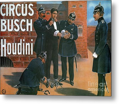 Vintage Poster Showing Houdini Prior To An Escape From A German Prison, 1907 Metal Print