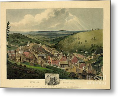 Metal Print featuring the photograph Vintage Pottsville Pennsylvania Etching With Remarque by John Stephens