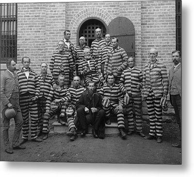 Vintage Prisoners In Striped Uniforms - 1889 Metal Print