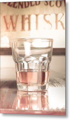 Vintage Pub Whisky On Old Wooden Counter Metal Print