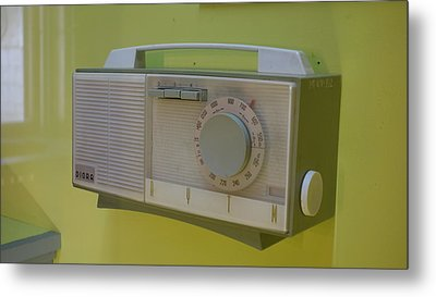 Vintage Radio With Lime Green Background Metal Print by Matthew Bamberg