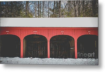 Metal Print featuring the photograph Vintage Red Carriage Barn Lyme by Edward Fielding