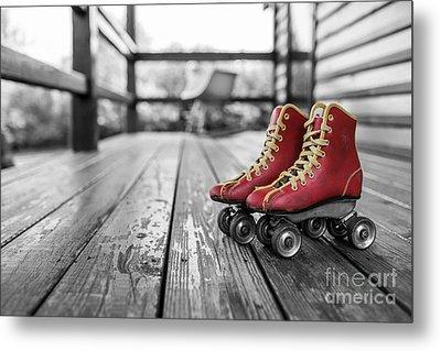 Vintage Red Roller Skates Metal Print