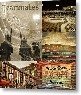 Vintage Red Sox Fenway Park Baseball Collage Metal Print by Joann Vitali