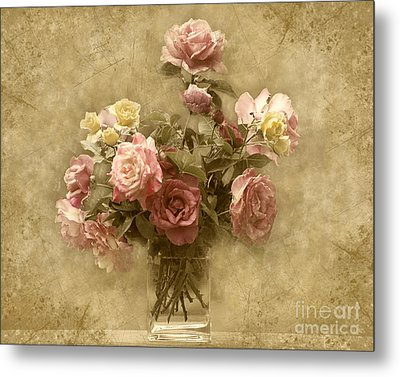 Metal Print featuring the photograph Vintage Roses by Cheryl Davis