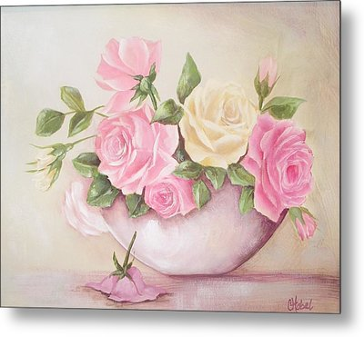 Vintage Roses Shabby Chic Roses Painting Print Metal Print