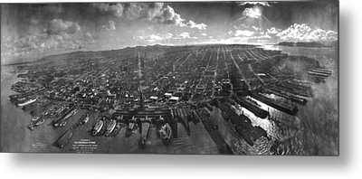 Vintage San Francisco Panoramic Photograph - 1902 Metal Print by CartographyAssociates